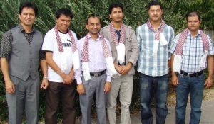 From left: Outgoing chairman Jogen Gazmere with Sushil Niroula (Publi Officer) Indra Adhikari (General Secretary), Jeevan Koirala (Treasurer), Suren Ghaley (Chairperson) and Kamal Dahal (Vice Chairperson)